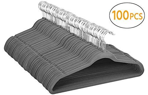 Yaheetech Samt Kleiderbügel 100 Stück Anzugbügel Garderobenbügel rutschfeste Oberfläche Wäschebügel mit 360° drehbarem Haken Grau