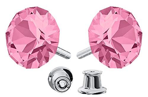 Crystals&Stones Mujer Niños plata de ley 925 plata redondo rosa claro Crystal