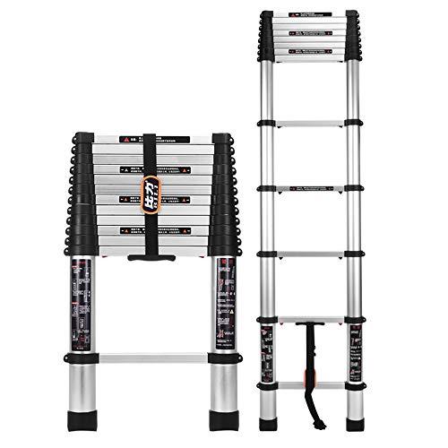 Qi Tai telescopische ladder, huishoudladder, dikke verlengladder van aluminiumlegering, multifunctionele klapladder, met aan-knop, met haak, 7 belastingsmaten 200 kg