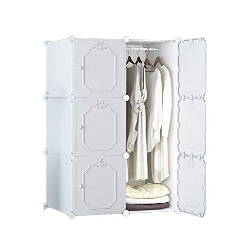 Armario de almacenamiento multicapa y práctico armario modular de resina, extra grande, ahorra espacio, 47 x 75 x 111 cm, color blanco