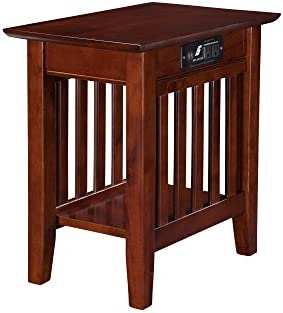 Best Atlantic Furniture Mission Chair Side Table with Charging Station, Walnut