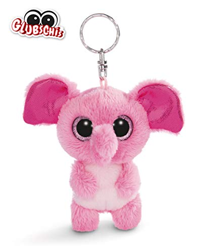NICI 45544 Glubschis Schlüsselanhänger Elefant Fluppy 9cm, große Glitzeraugen, Plüschtier mit Schlüsselring, pink/weiß