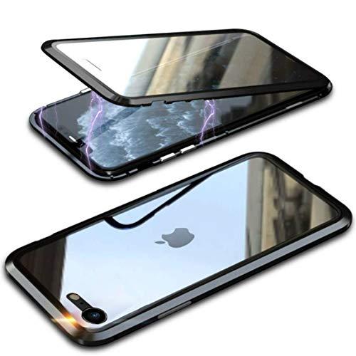 Funda Compatible iPhone 7/8/SE 2020, Carcasa Anti-Choques y Anti- Arañazos, Adsorción Magnética conchoques de Metal con 360 Grados Protección Case Cover Transparente Vidrio Templado Cubierta,Negro