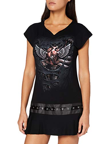 Spiral Direct Steam Punk Ripped-Stud Waist T-Shirt, Negro (Black 001), 48 (Talla del Fabricante:) para Mujer