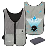 Venture Heat Wearable Fan Vest with Battery, 3 Speed Control - Air Circulation Powered Portable Cooling Shirt, WindTech Pro (M/L, Gray)