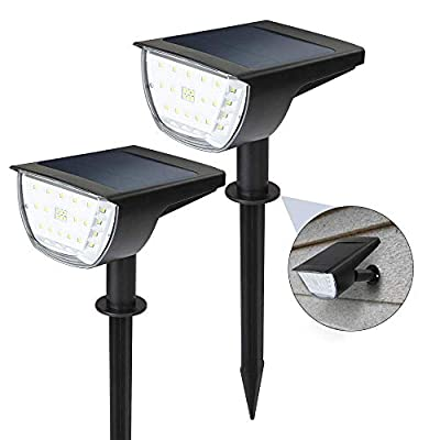 ZHENREN 32 LED Solar Landscape Spotlights Outdoor, IP65 Waterproof 3 Modes 300 Lumens Solar Powered Wall Lights 2-in-1 Cold White for Yard Garden Garage Pool Patio Driveway Porch Pathway, 2 Pack