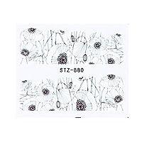 1ピースの水のネイルステッカーデカール黒い花の葉の移動ネイルアートの装飾スライダーマニキュアの透かし箔のヒント (Color : STZ 880)