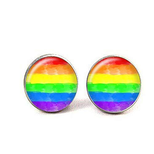 Pendientes de bandera del orgullo arcoíris, acuarela, orgullo gay, joyería de cristal LGBT