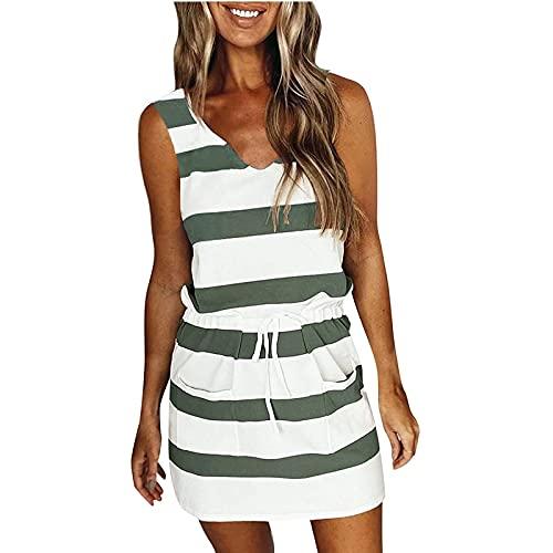 VCAOKF Damen Sommer Loose Casual Sling Striped Printed Weste Kleid Mode Lose Neckholder Gestreiftes Pocket Dress Beiläufig Gestreift Bedruckt Armeegrün
