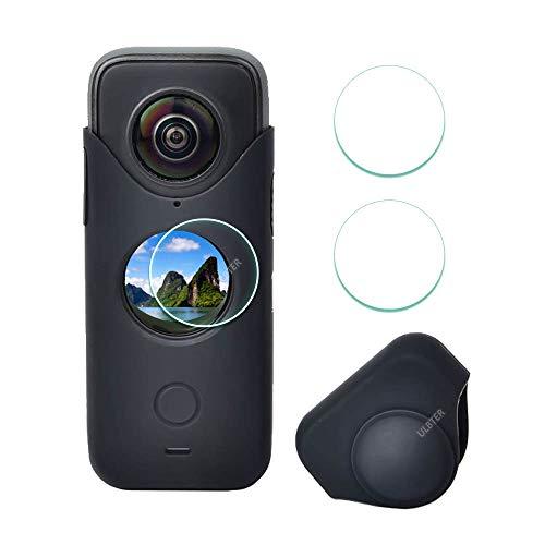 Ulbter Displayschutzfolie für Insta360 ONE X2 + schwarze Gummi-Hülle, Silikon-Schutzhülle für Insta 360 ONE X2 Panorama-Action-Kamera-Zubehör