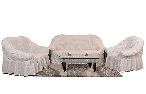 My Palace 3-er + 2-er + 1-er Sofabezug Sofahusse Sofaüberwurf 3 er Couchbezug Sofaschoner 3 teilig Couchschoner. Schutzbezug. Sofa Bezug Set Farbe: Weiss/weiß/White