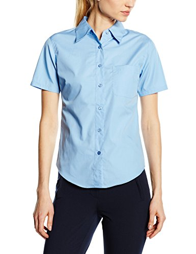Fruit of the Loom Oxford- Blusa de popelina para mujer Oxford, corte femenino, manga corta azul Mid Blue Talla:S - 10