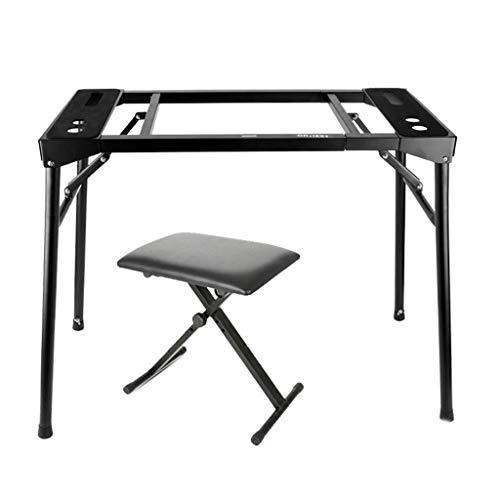 Nai-tripod Piano Ständer mit Hocker, Verstellbare Plattform Mixer Keyboardständer - Flat Top Ständer for Keyboards & Mixers Tastaturrahmen (Color : Black)