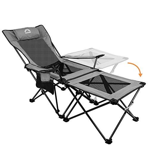Asteri Campingstühle, zusammenklappbar, Liegestuhl, tragbar, mit Getränkehalter, abnehmbarem Beistelltisch und Tragetasche, strapazierfähig, für Outdoor, Wandern, Angeln, Strand, Picknicks