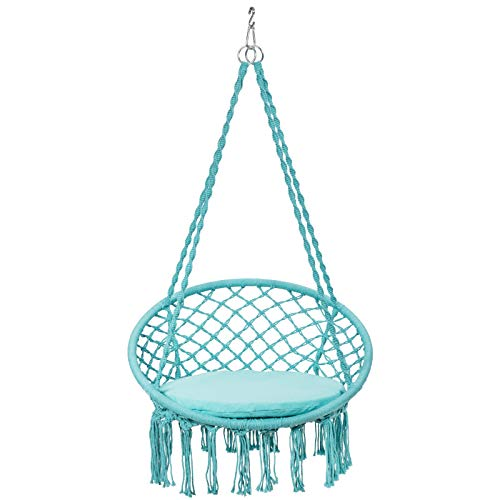 GYMAX Macrame Hanging Chair, Indoor Outdoor Hammock Swing Chair with Cushion, Tassels Swing Seat for Patio, Balcony & Garden (Turquoise)
