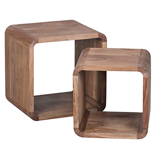 WOHNLING 2er Set Satztisch Massiv-Holz Akazie Wohnzimmer-Tisch Landhaus-Stil Cubes Beistelltisch Würfel-Regal Natur-Holz dunkel-braun Würfeltisch Modern Naturprodukt Echt-Holz Couchtisch Unikat