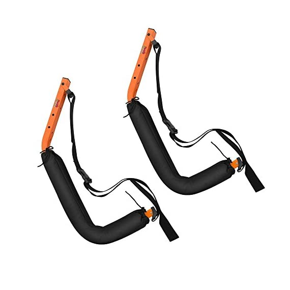 Kayak Storage Hooks – Wall Mount Garage Hangers with 125 lb Capacity for Kayaks or Paddleboards by Rad Sportz 8 KAYAK WALL MOUNT – The hangers provide an easy way to mount your kayak or paddleboard neatly on the wall of your garage or shed SECURE STORAGE – Constructed from sturdy powder coated steel, and equipped with nylon holding straps and clips, the hooks can be mounted right into your wall studs to safely store equipment up to 125-pounds FOAM PADDED HOOKS – The hooks are designed with a foam padding to protect your kayak or sporting equipment from scratches