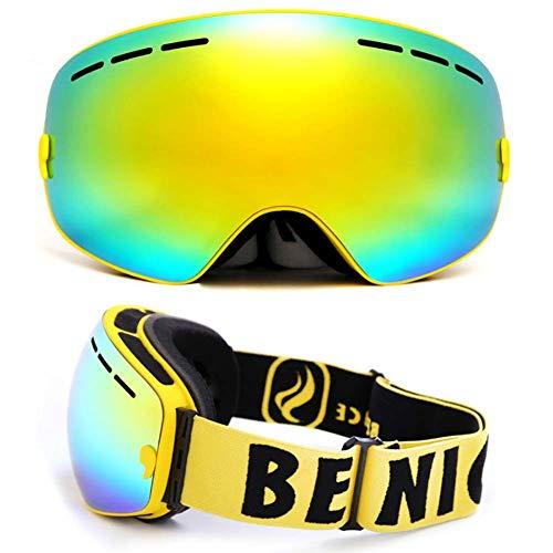 Qnlly Professionelle Skibrille Doppel Anti Fog UV-Cut Sphärische Skibrillen Outdoor Sports Schneebrille Skibrille Für Männer Frauen,01