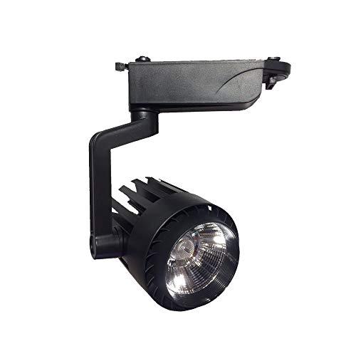 FactorLED Foco LED 30W NEGRO para Carril Monofásico, Sistema Orientable 3000Lm Varias Temperaturas de Color, Focos Led Techo, Iluminación Comercial [Clase de eficiencia energética A+] (Blanco Cálido)
