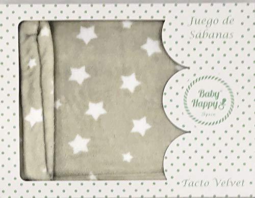 Sabanas invierno Velvet CUNA 60 x 120 cm (bajera+encimera+funda almohada) (Danielstore) (Estrella gris velvet)