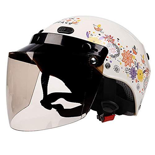 LALEO Verano Transpirable Estampado de Flores Moda Casco Moto Abierto con Gafas Protectoras, Retro Harley Adulto Chicas Mujeres, ECE Certificado M-L (53-60cm),M