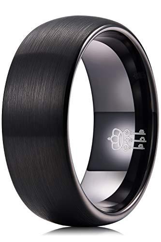 Three Keys Jewelry Anillo de carburo negro de tungsteno cepillado de 8 mm para hombre, anillo de compromiso tamaño Z2