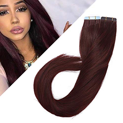Benehair Tape in Hair Extensions Human Hair 100g Tape in Remy Hair Extension Thick 40pcs for Women Burgundy 22 inch Wine Red Long Straight Hair Invisible Seamless Double Sided Tape on #99J