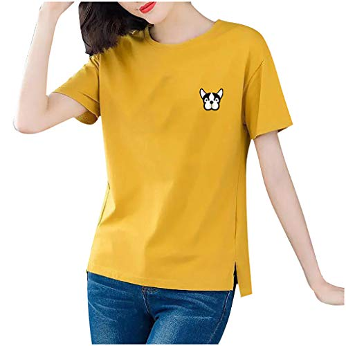 Women Blouses and Tops Plus Size Fashion Women Casual Short Sleeve Printed O-Neck Blouse Ladies T-Shirt Tops Yellow 3XL