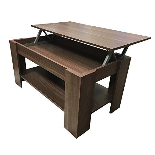 Redstone Coffee Table Lift Up Top with Storage Dark Walnut
