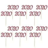 Amosfun 2020 - Decoración para Pasteles con Purpurina para Nochevieja, Festival, Aniversario, Fiesta de graduación, 24 Unidades, Color Dorado Rojo, Papel, Rose Gold, Größe 1