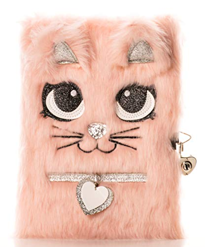 Busy Kid Plush Diary with Lock for Girls Glitter Kitty Notebook for Kids (Light Pink)