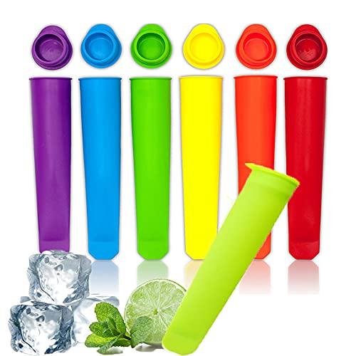 Eisformen Silikon,6 Stück Eis Am Stiel Silikon Mit Deckel Wassereis Formen Popsicle aus lebensmittelechtem Silikon BPA Frei Perfekt für Kinder und Erwachsene