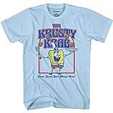 Mens Spongebob Squarepants Classic Shirt - Spongebob, Patrick & Krusty Krab T-Shirt (Light Blue Group, Large)
