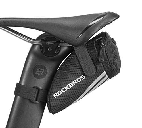 ROCKBROS Bolsa de Sillín de Bicicleta MTB Carretera Mini Pequeña Bolsa de Asiento para Cámaras Ciclismo Negro