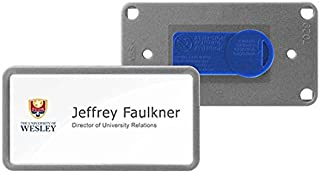 SB-12-CM-MS Reusable Window Name Badge Tag (BULK PURCHASE 12PCS SPECIAL OFFER) with Magnet / Window Size 75x37mm / Color: MATT SILVER