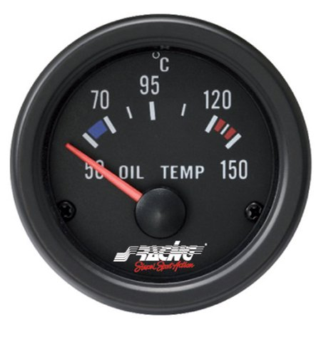 Simoni Racing OT/B Indicador Eléctrico de Temperatura Aceite, Negro