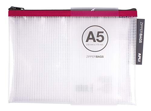 APLI 17384 - Bolsa Zipper Bag A5, 1 unidad, colores surtidos