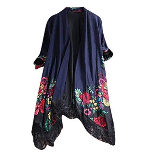 HaiDean Señoras Floral Borla Cárdigan Étnica Diseño Abrigo Bellamente Modernas Casual Mujer Abrigo Chaqueta Outwear (Color : Blau, One Size : XXL)
