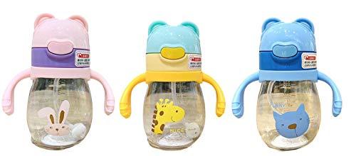 Brissa España. Vaso Antiderrame Bebe. Vaso Aprendizaje-Antigoteo. Botella Infantil para Bebé-Niños con Pajita. Taza con asas. Vaso 360 º. (Rosa)