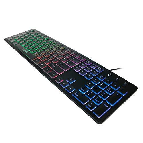 LogiLink ID0138 Beleuchtete Tastatur, USB 1.1, LED Regenbogen-Hintergrundbeleuchtung schwarz