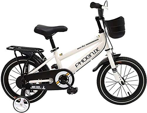 YAOJIA strider kids bike 14/18 Inch Children's Bicycle Suitable For Girls And Boys 3-13 Years Old | With Training Wheels And Handbrake Bicycle (Color : White, Size : 18in)