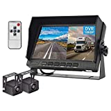 Hodozy Backup Camera 2 Split Screen Monitor System DVR Recording 7 inch 1080P Dual Waterproof Night Vision Rearview Camera Easy Installation for Truck/Trailer/Large Box/RV/Camper/Bus