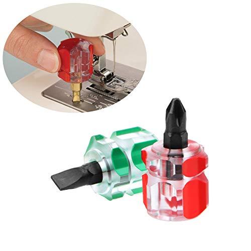 Cemobile Kit de destornilladores para máquina de coser, mini Stubby Ultra Corto, destornillador de cabeza Phillips plana, herramientas de reparación (2 piezas)