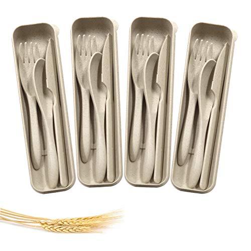 4 juegos de cubiertos portátiles, cubiertos de paja de trigo, cuchara cuchillo, tenedor de cuchillo, vajilla, para niños, adultos, viajes, picnic, camping (beige)