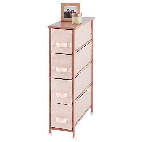 mDesign Cómoda para dormitorio con 4 cajones – Organizador para ropa estrecho con tablero de MDF – Cajonera de metal y tela para habitación, sala de estar o pasillo – rosa claro y dorado rojizo