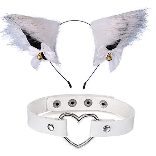Chilits Diadema con orejas de gato, diadema y collar de gato con diseño de orejas de zorro para mujer, disfraz de cosplay