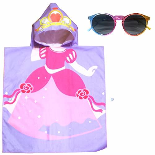 ComicalBubble Juego de toallas de baño para niñas, tiara piscina, poncho con capucha para playa para niños de 1 a 8 años, microfibra súper suave, absorbente, gafas de sol...