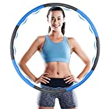 Weighted Hula Hoops for Adults,8 Section Detachable Adjustable Slimming Circle,Soft Padding and Wavy Design for Massage,Folding Fitness Hula Hoops For Adults/Kids/Women Exercise Weight Loss