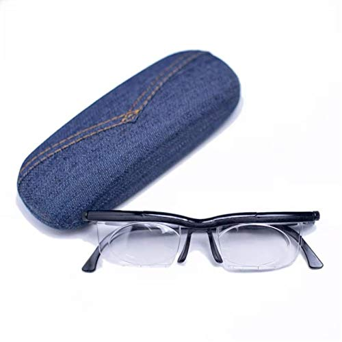 "SHUNXI Dial Vision Adjustable Glasses, Adjustable Lens Vision Focus Reading Eyeglasses, Black, 3.94 x 7.87 x 2.76"""