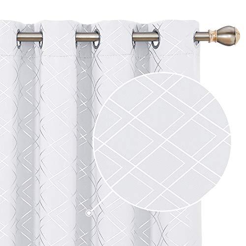 Deconovo Blickdichte Gardinen Lärmschutzvorhang Ösen Silberne Muster 138x117 cm Grau Weiß 2er Set